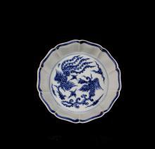 CHINESE PORCELAIN BLUE AND WHITE PHOENIX BRUSH WASH