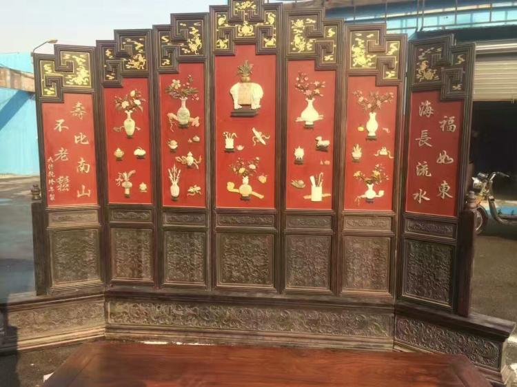 Seven panels of chinese zitan lacquered jade inlaid screen for Chinese furniture newcastle
