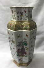 CHINESE PORCELAIN FAMILLE ROSE DOUBLE DIAMOND VASE