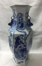 CHINESE PORCELAIN BLUE AND WHITE FIGURES HEXAGONIAL VASE