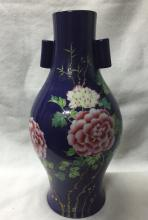 CHINESE PORCELAIN BLUE GROUND FAMILLE ROSE VASE