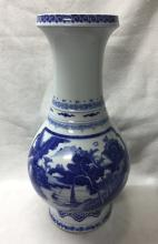 CHINESE PORCELAIN BLUE AND WHITE LAKEVIEW VASE