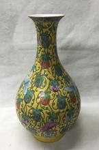 CHINESE PORCELAIN YELLOW GROUND FAMILLE ROSE VASE