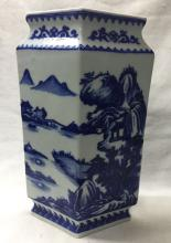 CHINESE PORCELAIN BLUE AND WHITE LAKEVIEW DIAMOND VASE
