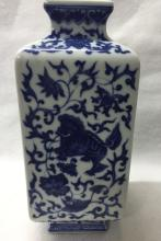 CHINESE PORCELAIN BLUE AND WHITE SQUARE VASE