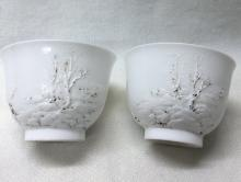 PAIR OF CHINESE PORCELAIN WHITE GLAZE ENGRAVED CUPS