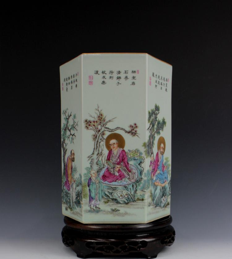 CHINESE PORCELAIN FAMILLE ROSE LOHAN HEXAGONAL BRUSH POT