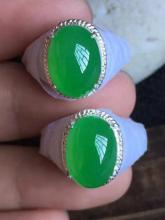 TWO NATURAL JADEITE RING SURFACES