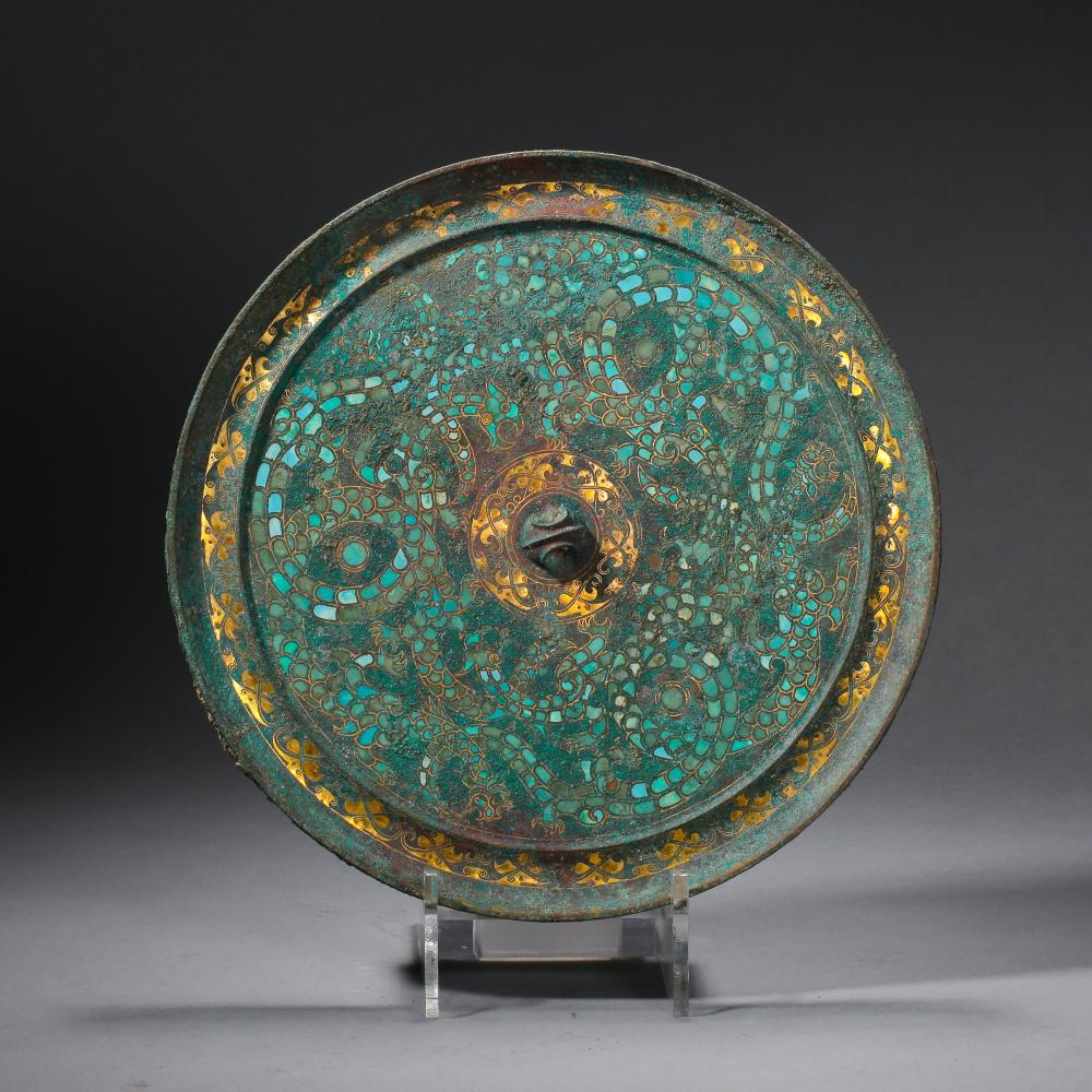 Chinese Gold Silver Turquoise Inlaid Bronze Round Mirror Han