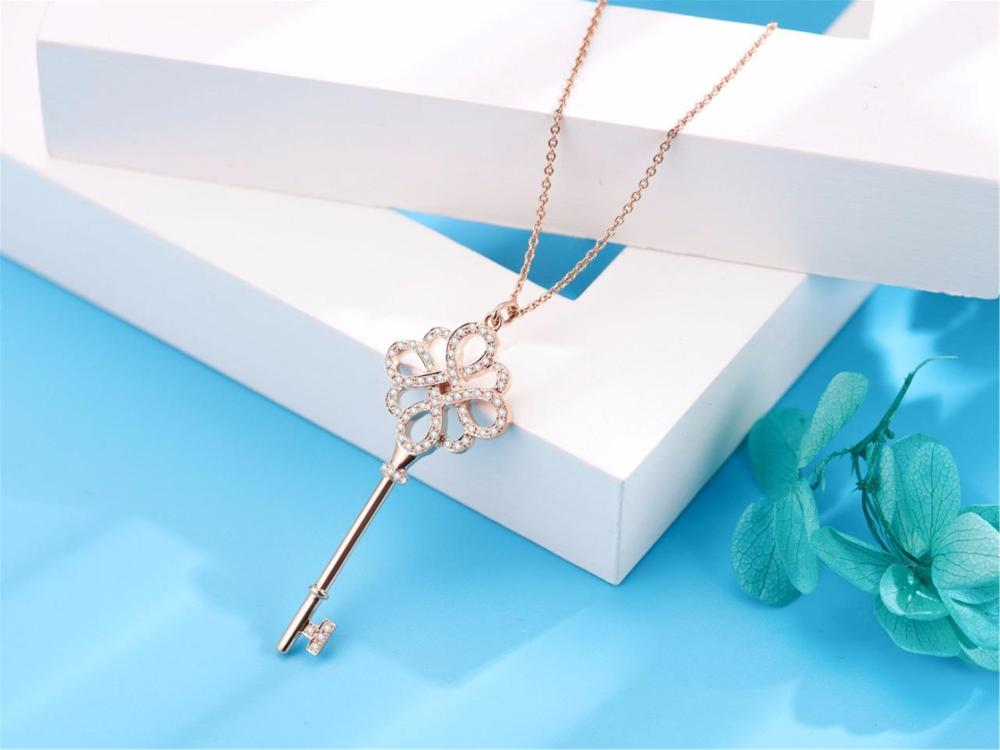 Tiffany Style Knot Key 18k Rose Gold Diamond Pendant Necklace With Original Case
