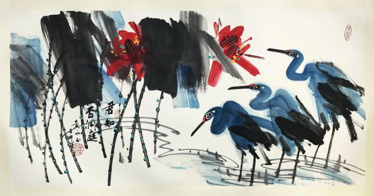 CHINESE SCROLL PAINTING OF BIRD AND LOTUS