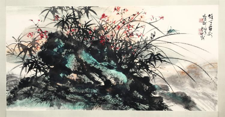 CHINESE SCROLL PAINTING OF ORCHID AND ROCK