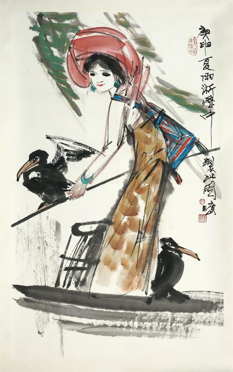 CHINESE SCROLL PAINTING OF GIRL AND BIRD