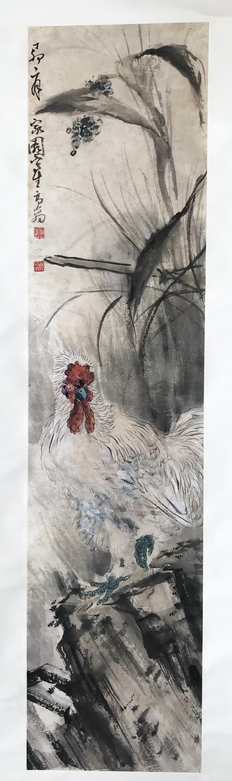 CHINESE SCROLL PAINTING OF ROOSTER AND FLOWER