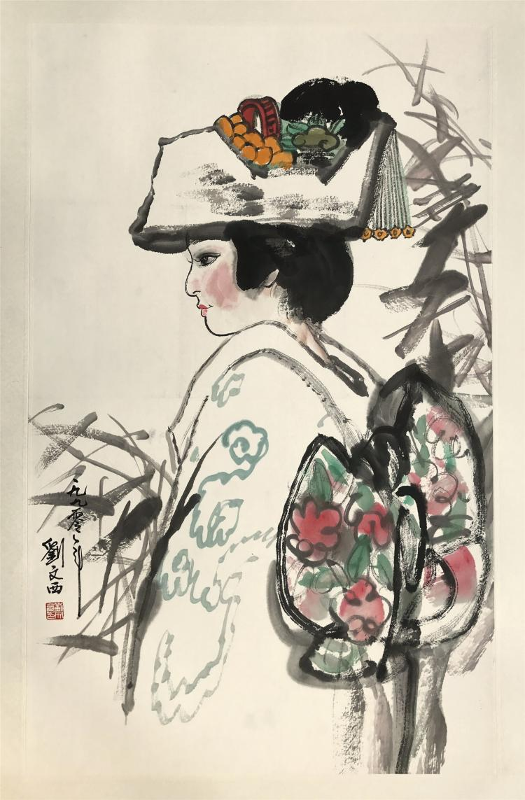 CHINESE SCROLL PAINTING OF JAPANESE BRIDE