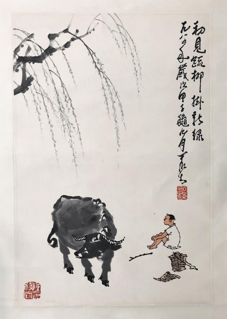 CHINESE SCROLL PAINTING OF BOY AND OX