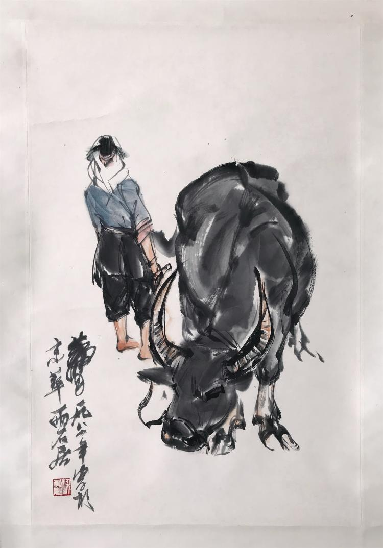 CHINESE SCROLL PAINTING OF GIRL AND OX