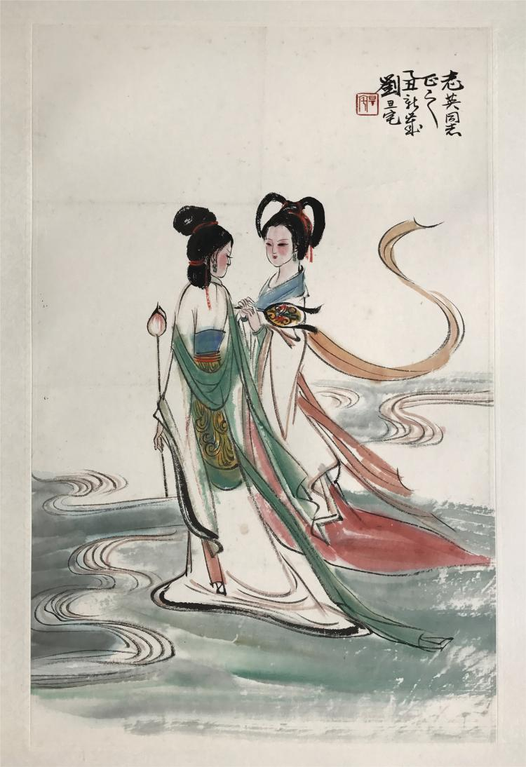 CHINESE SCROLL PAINTING OF TWO GIRLS