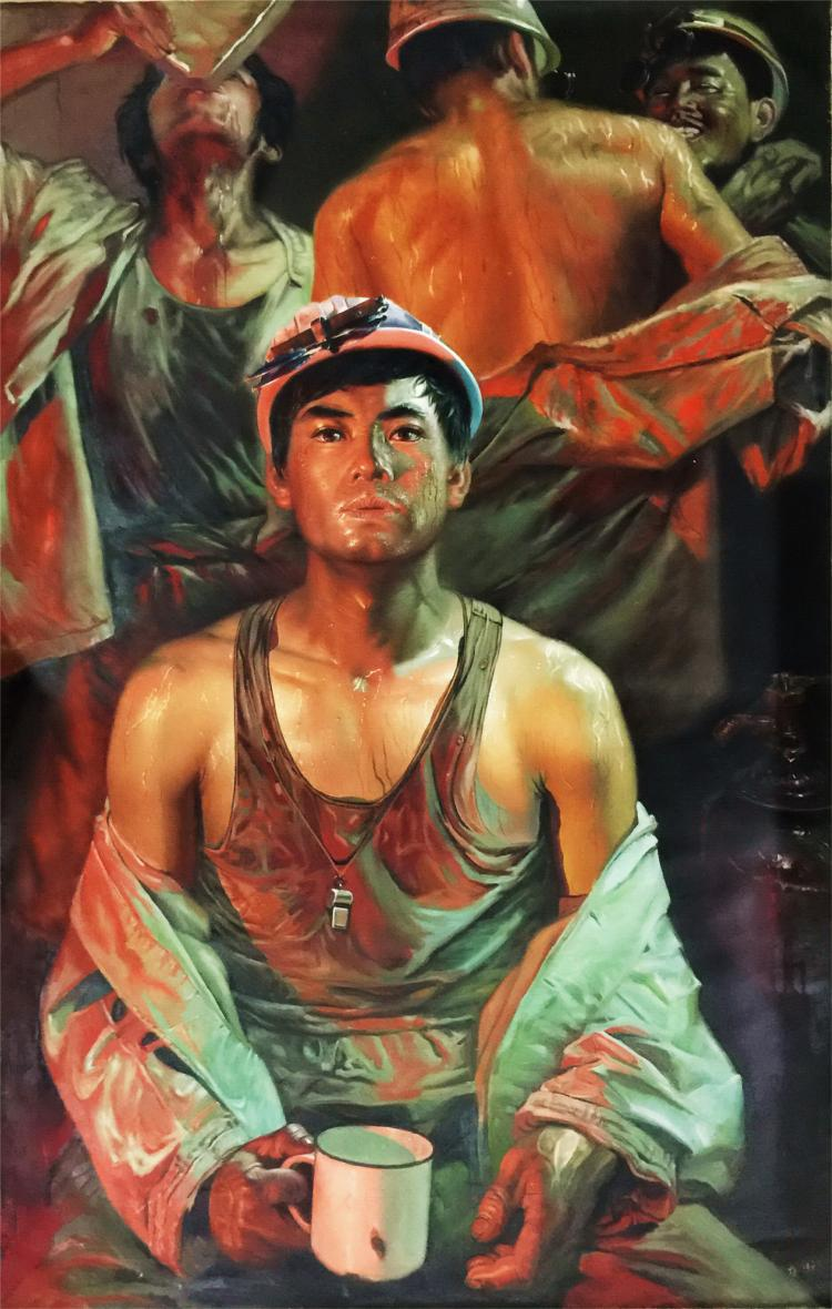 CHINESE OIL PAINTING OF STEEL WORKERS