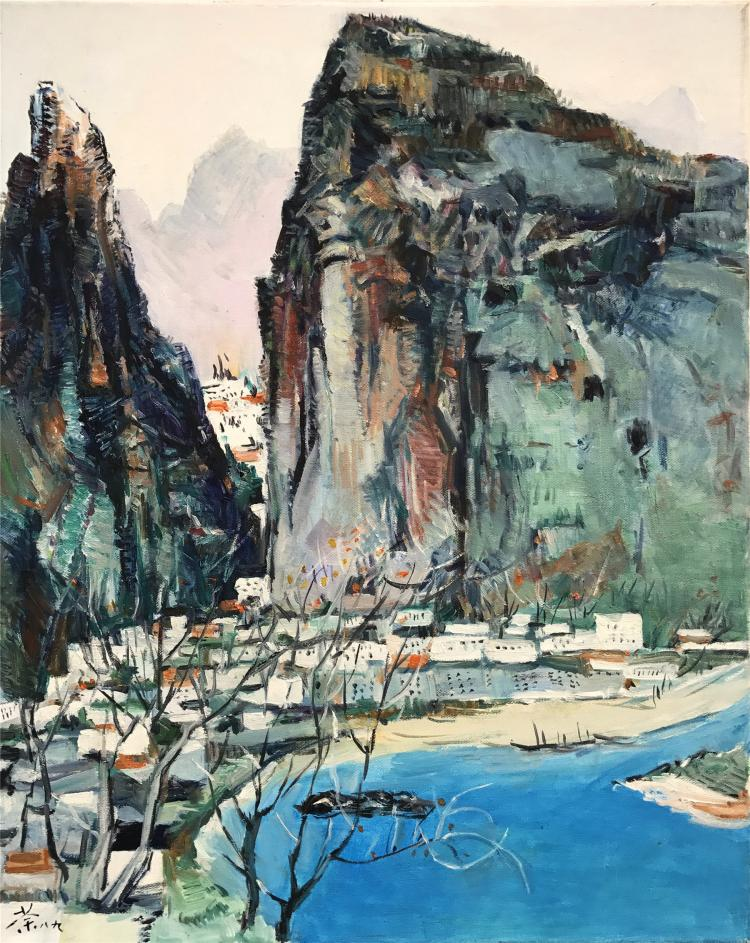 CHINESE OIL PAINTING OF LANDSCAPE
