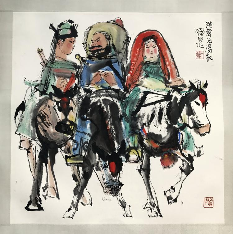 CHINESE SCROLL PAINTING OF THREE HORSE RIDDERS