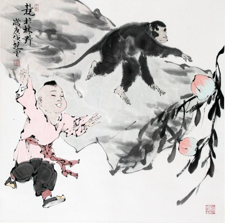 CHINESE SCROLL PAINTING OF BOY AND MONKEY