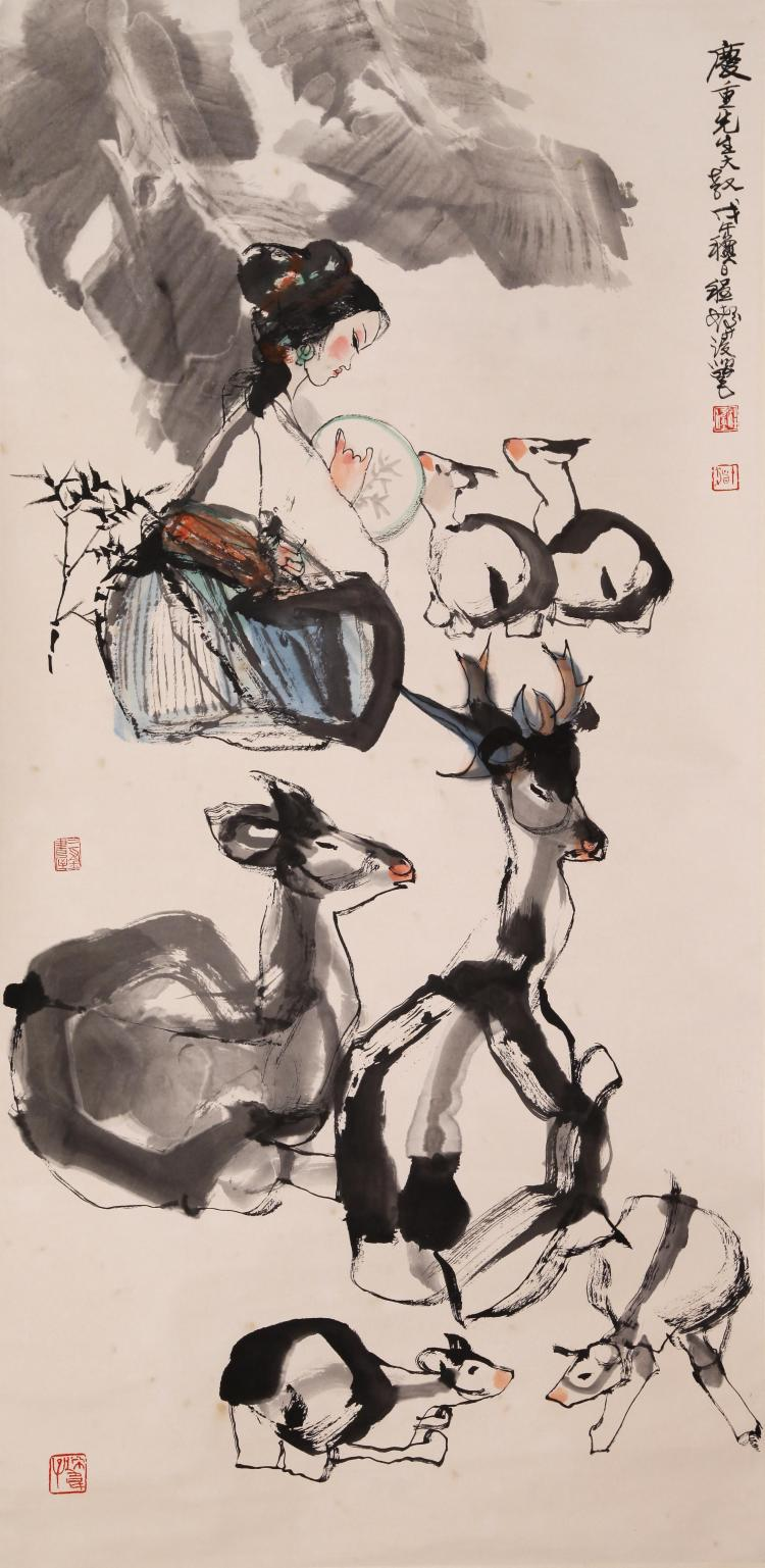 CHINESE SCROLL PAINTING OF GIRL AND DEER WITH PUBLICATION