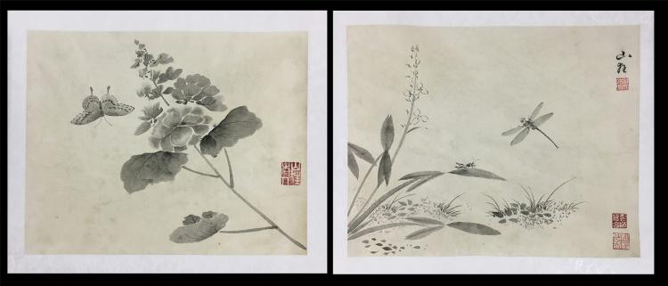 TWO PAGES OF CHINESE ALBUM PAINTING OF INSECT AND ORCHID