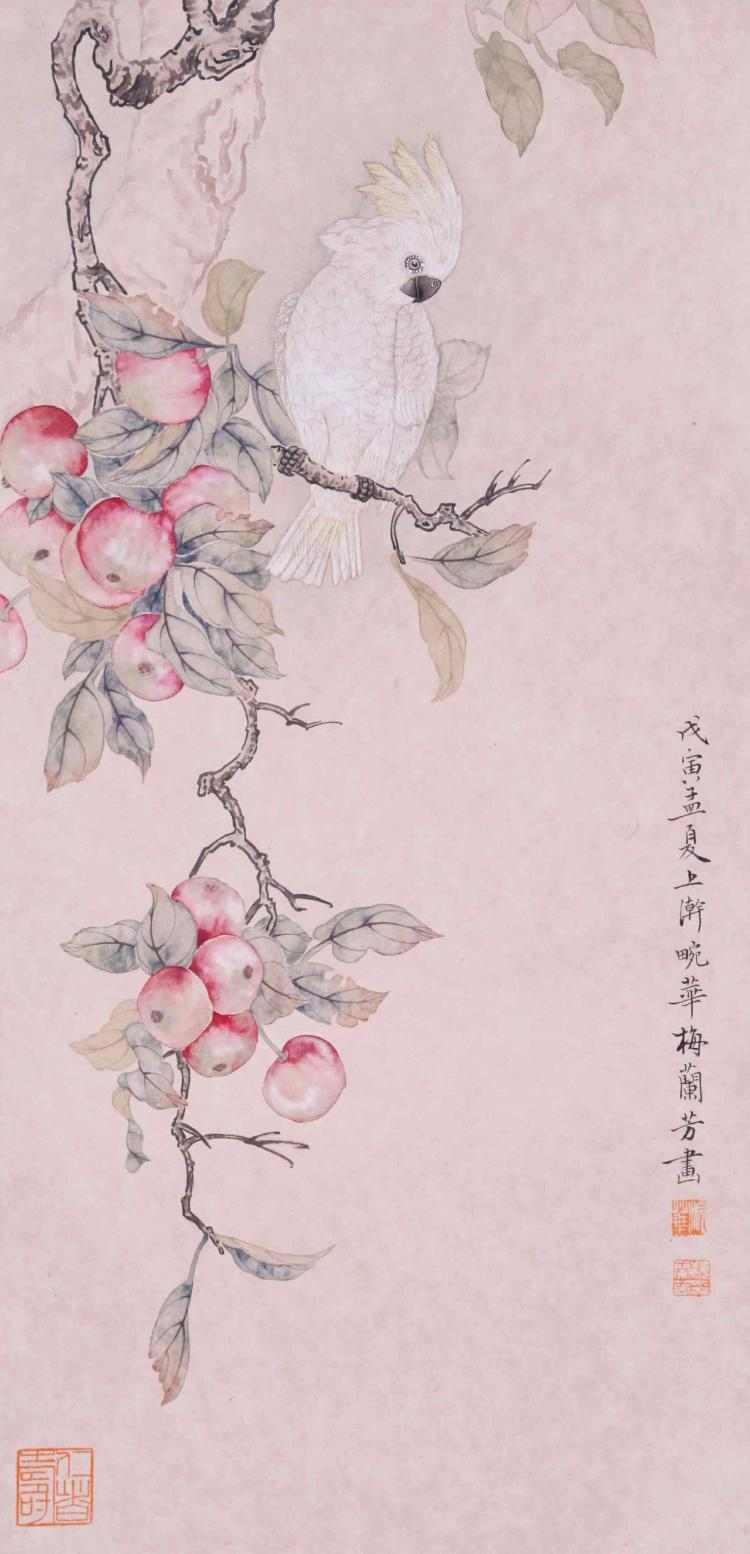 CHINESE SCROLL PAINTING OF BIRD AND PEACH