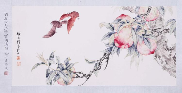 CHINESE SCROLL PAINTING OF BAT AND PEACH
