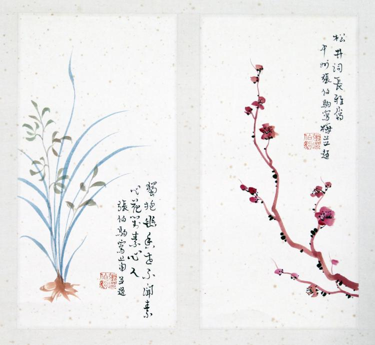 TWO PANELS OF CHINESE SCROLL PAINTING OF FLOWER