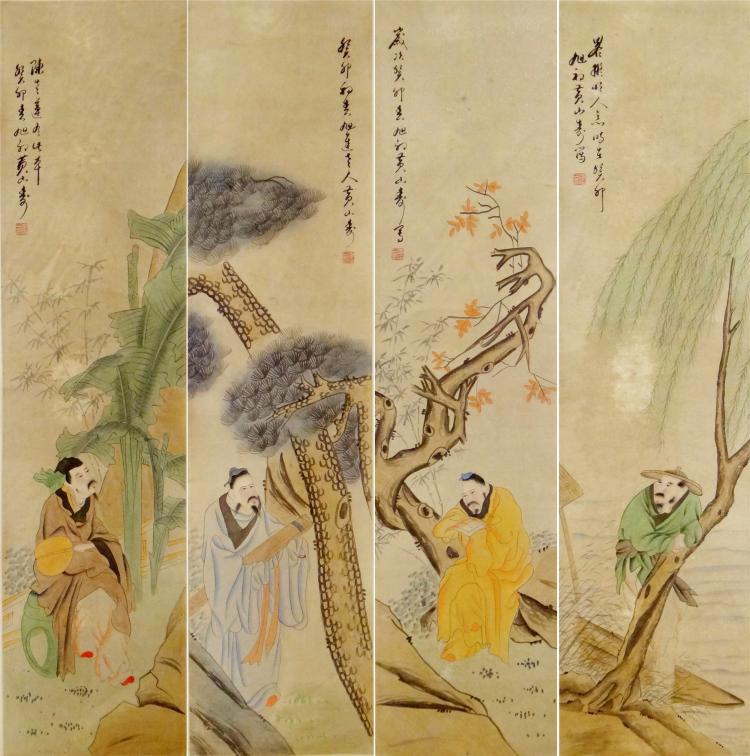 OUR PANELS OF CHINESE SCROLL PAINTING OF MAN UNDER TREE