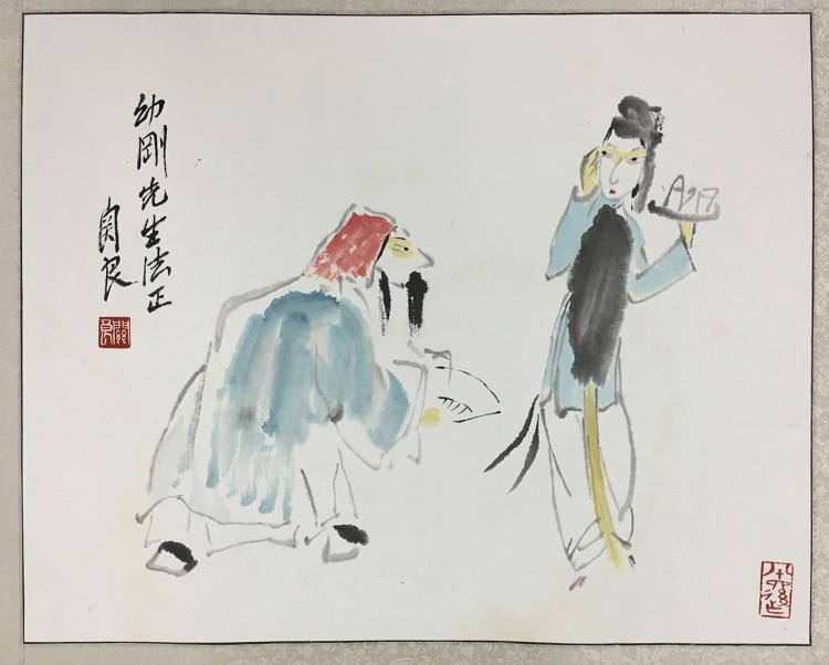CHINESE SCROLL PAINTING OF OPERA FIGURE