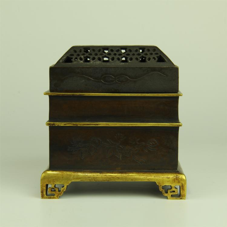 CHINESE BRONZE SQUARE INCENSE CAGE