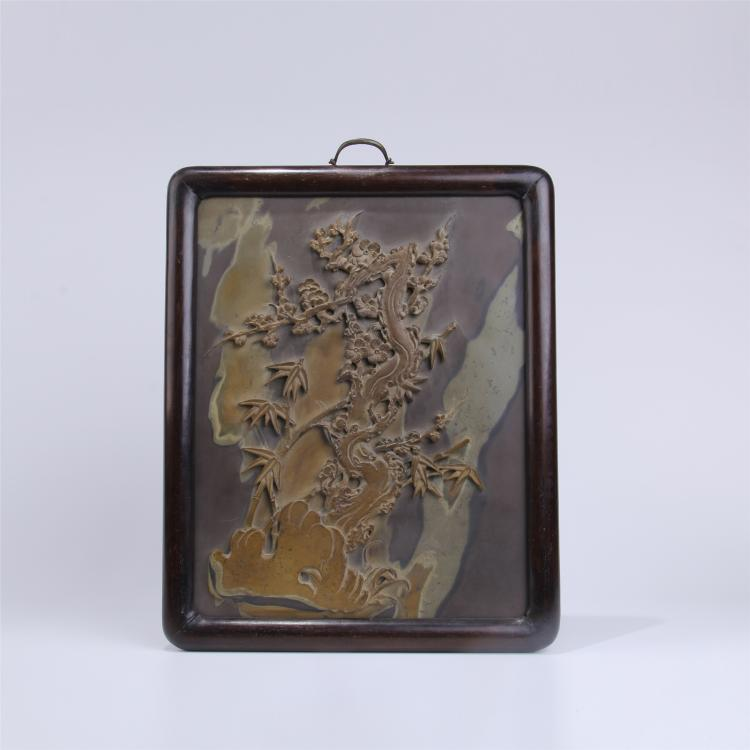 CHINESE INK STONE PLAQUE INLAID ROSEWOOD WALL SCREEN