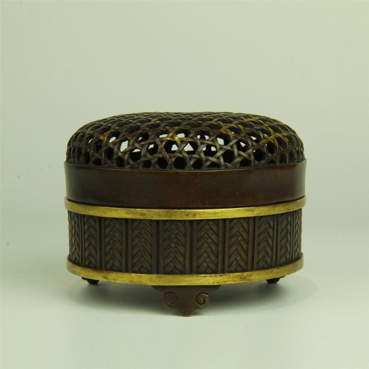 CHINESE PARTIAL GILT BRONZE ROUND INCENSE CAGE