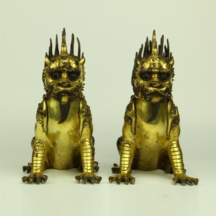 PAIR OF CHINESE GILT BRONZE FOO DOGS
