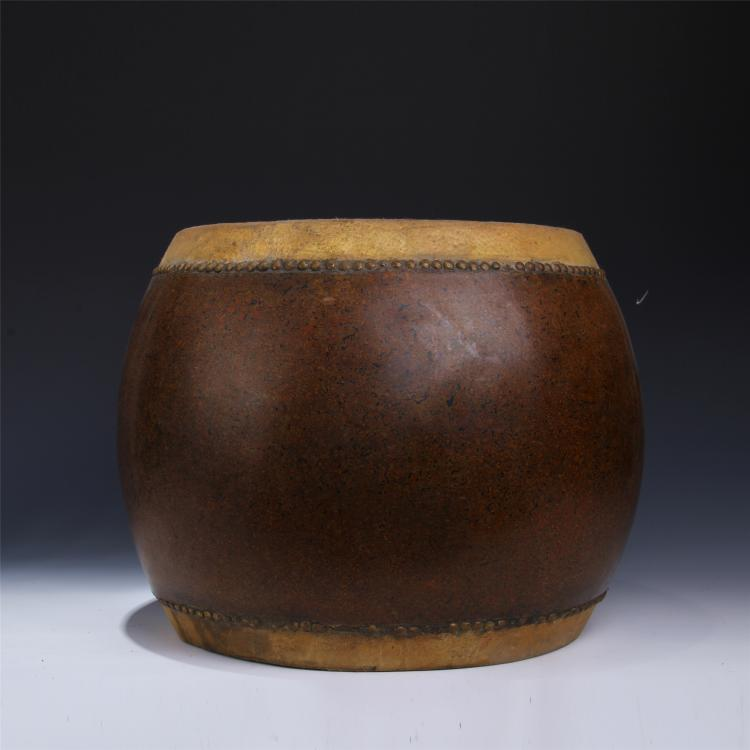 CHINESE RHINOCEROS SKIN LACQUERED DRUM