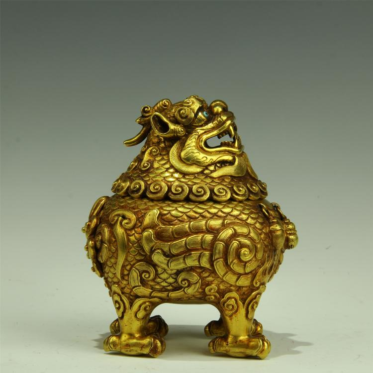 CHINESE GILT SILVER BEAST INSENCE CAGE