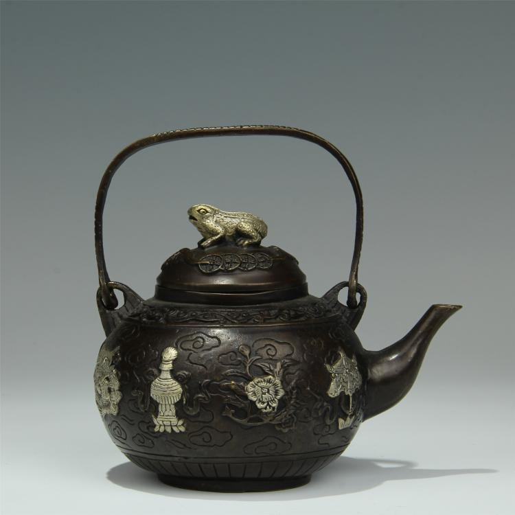 CHINESE SILVER INLAID COPPER TEA POT