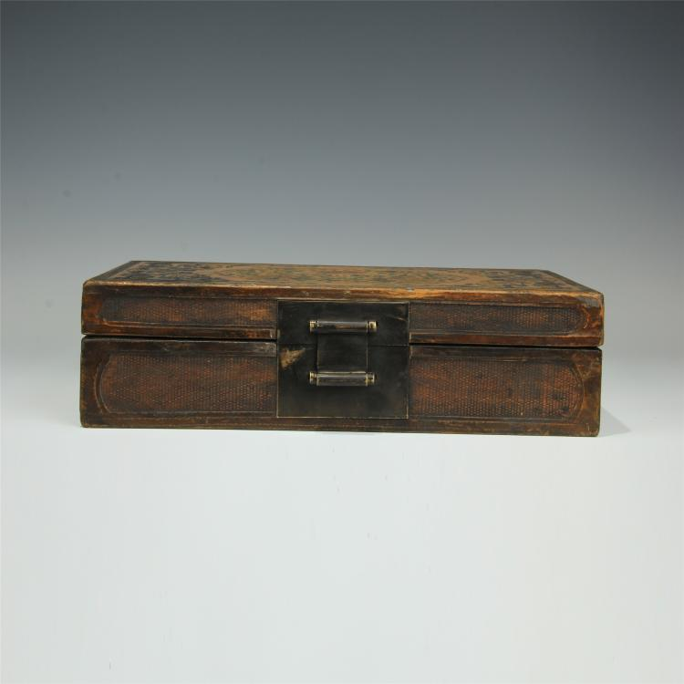 CHINESE GOLD PAINTED ROSEWOOD CASE