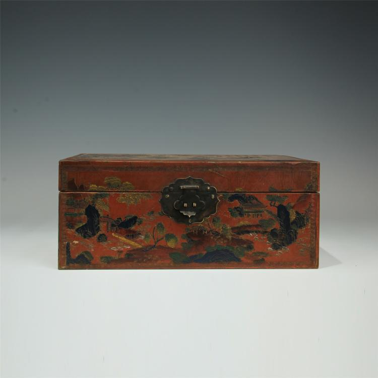 CHINESE LACQUERED DRAGON PHOENIX CASE