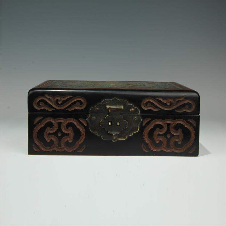 CHINESE BLACK LACQUERED CASE