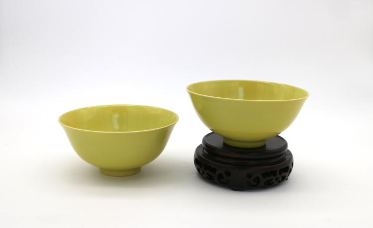 PAIR OF CHINESE PORCELAIN OF YELLOW GLAZE BOWLS