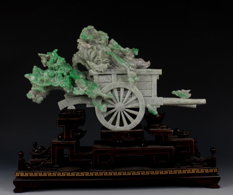 CHINESE JADEITE CARVED FRUIT ON CART