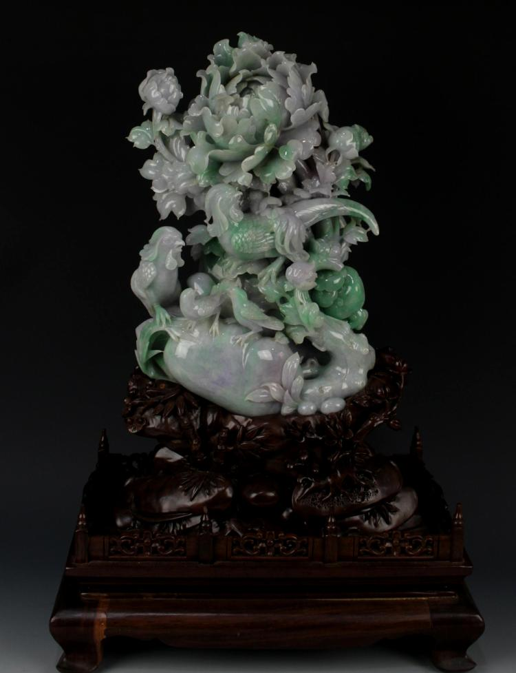 CHINESE JADEITE CARVED FLOWER AND ROCK