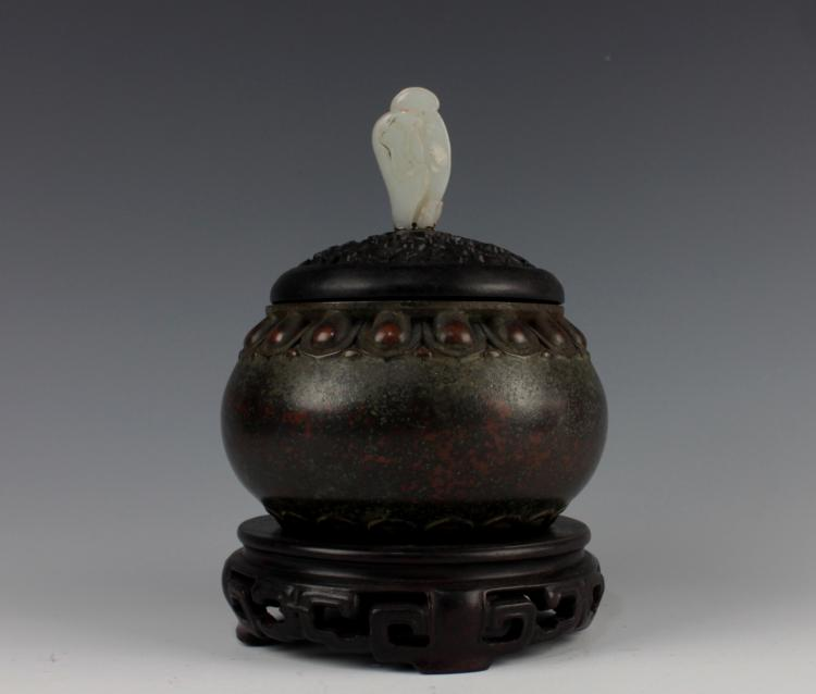 CHINESE BRONZE CENSER WITH JADE KNOB ROSEWOOD LID