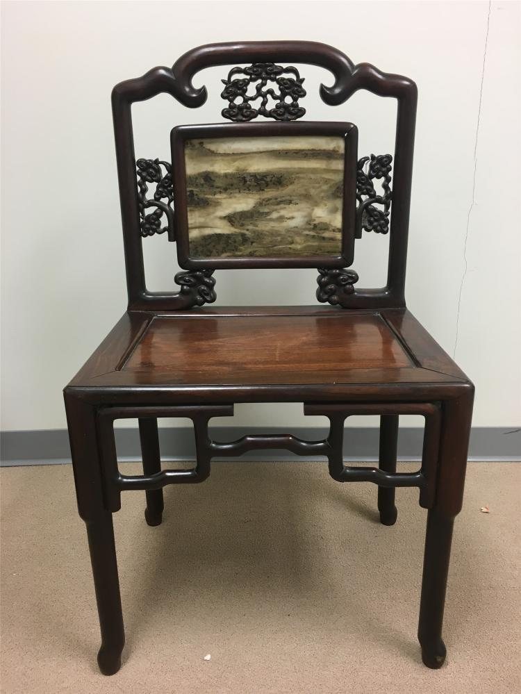 Chinese rosewood marble plaque inlaid chair for Chinese furniture newcastle