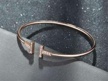 TIFFANY T WIRE 18K ROSE GOLD DIAMOND BRACELET