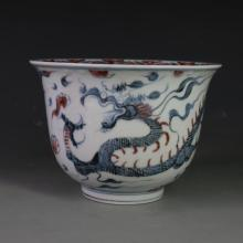 CHINESE PORCELAIN BLUE AND WHITE RED UNDER GLAZE DRAGON BOWL